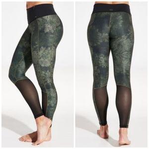 Calia Green Camo Floral Mesh V Shape Leggings